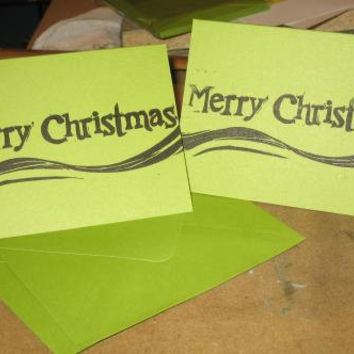 Merry Christmas set of 2 hand-printed blank notecards with envelopes A2 linocut