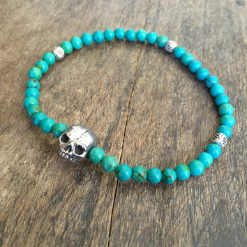 Skull Bracelet, Turquoise Gemstone Bracelet, Bohemian Stacking Bracelet, Beaded Jewelry by Two Silver Sisters