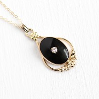 1940s Vintage Lavalier - Retro 12k Gold Filled .10 CT Genuine Pink Sapphire Necklace - Simulated Black Onyx Signed Van Dell Pendant Jewelry