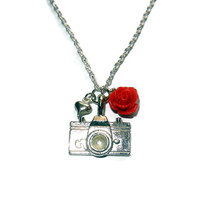 Silver Camera Charm Necklace with Red Flower and Heart Charm