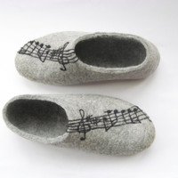 Felted slippers Gray with Felted Music Vivaldi or Your by ekohaus