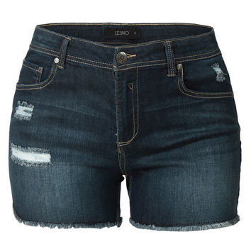 LE3NO Womens Plus Size Lightweight High Waisted Summer Denim Shorts with Pockets