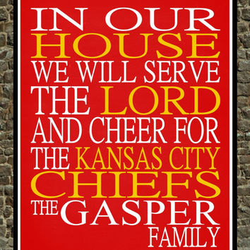 Customized Name Kansas City Chiefs NFL football personalized family print poster Christian gift sports wall art - multiple sizes