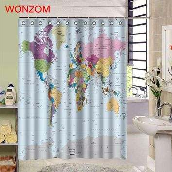 WONZOM 1Pcs World Map Waterproof Shower Curtain Bathroom Decor National Flag Decoration Cortina De Bano Bath Curtain Gift