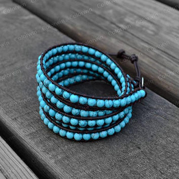 Turquoise Leather Bracelet  Turquoise Wrap Bracelet Charm Bracelet Leather Wrap Bracelet 4mm Beaded Bracelet with Brown Leather Cord