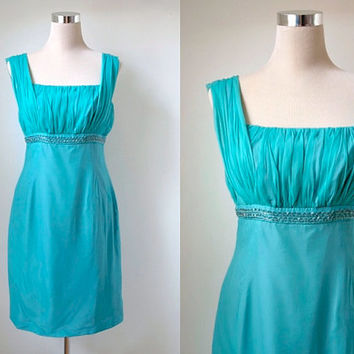 Vintage 1960's Carnegie of London - Sea Foam Green Blue Vintage Dress - Mad Men Style Cocktail Dress - Party Dress