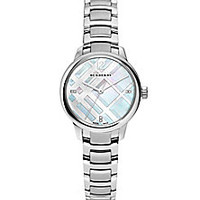 Burberry - Diamond, Mother-Of-Pearl & Stainless Steel Bracelet Watch - Saks Fifth Avenue Mobile