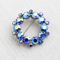Vintage Blue & Purple Aurora Borealis Rhinestone Brooch - 1950s Silver Tone Round Wreath Costume Jewelry Pin / Periwinkle Irridescent Rounds