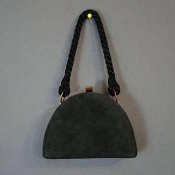1950s Small Black Suede Purse with Rayon Braid Strap, Vintage Evening Purse