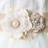 Pearl Rhinestone Floral Bridal Sash - Ivory Fabric and  Vintage Lace Blossoms