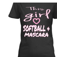 THIS GIRL LOVES SOFTBALL AND MASCARA