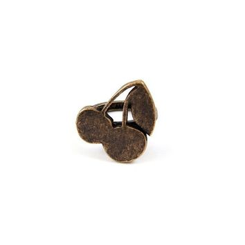 Brass Cherry Charm Ring