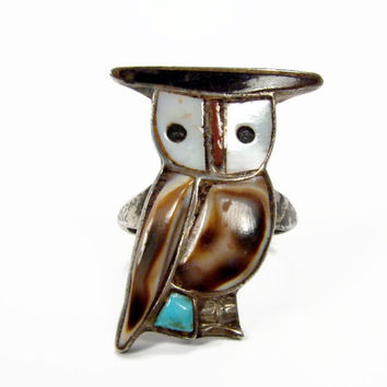 Zuni Inlay Owl Ring, Sterling Silver, Size 9, Vintage Ring, Native American, Turquoise Ring, Mother Pearl, Estate Jewelry, Sterling Ring