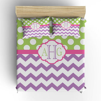 DUVET COVER, BEDDING Comforter, Polka Dot Chevron Pattern, Pillow Sham, Purple Lime, Toddler, Twin, Queen, King, College Dorm, Girl Bedroom