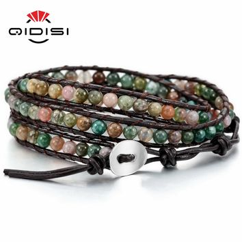 Triple Leather Wrap Polished Stone Bead Bracelet 12 Styles in Stock - Hippie Supply