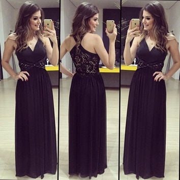 Women Fashion Summer Sexy Elegant V-neck Sleeveless Backless Chiffon Evening Prom Ball Gown Long Maxi Dress = 1946894404