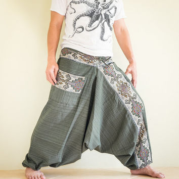 Nomadic Gypsy Memling Motif Embroidery Baggy Harem Pants Unisex Low Crotch Elastic Waist (MN Green)