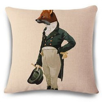 Creative Mr. Fox Pattern Square Shape Flax Pillowcase (Without Pillow Inner)