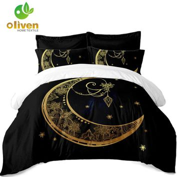 Bohemia Black Bedding Set Golden Mandala Elephant Moon Duvet Cover Set Pillowcase India Style Bedclothes ropa de cama 3PCS D49
