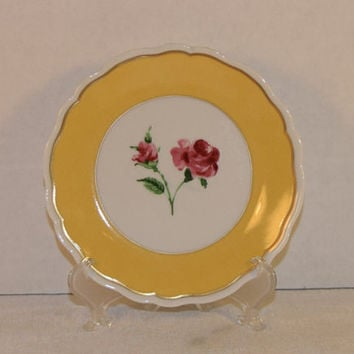 Limoges Yellow Canape Plate Vintage Philippe Deshoulieres Salad Plate Limoges France Shabby Chic Dessert Plate Rose Decorative French Plate