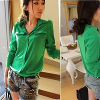 Sexy Women's Candy Color Chiffon Button Down Shirts Blouses Shoulder Padded Tops