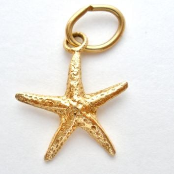 14K Yellow Gold Starfish Charm/Pendant