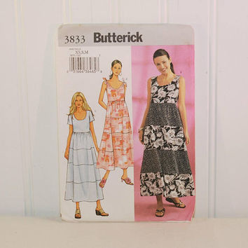 Butterick 3833 Summer Dress Pattern (c. 2003) Misses' & Misses' Petite Size Extra Small, Small and Medium, Sun Dress, Tiered Dress