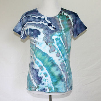 Blue Womens Handdyed Shirt, Womens Tie Dye T-Shirt, Striped Shirt, Tie Dye Shirt