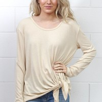 Side Tie Long Sleeve Top {Tan}
