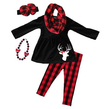 Red Black Plaid Outfit Sparkle Deer Top And Pants