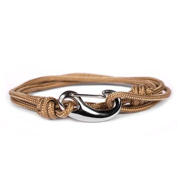 Taupe + Silver Tactical Cord Men's Bracelet