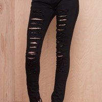 Let's Get Ripped Skinny Jeans Black | LASULA