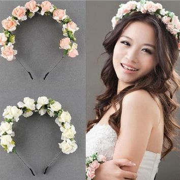 DKLW8 Beautiful Wedding Party Prom Flower Garland Bride Headband Hairband Hair Accessories Festival Decor