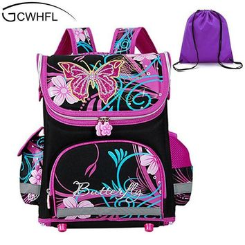 LMFCI7 GCWHFL Children School Bags Girls Orthopedic Butterfly Design Princess School Backpack Kids Satchel Knapsack Mochila Infantil