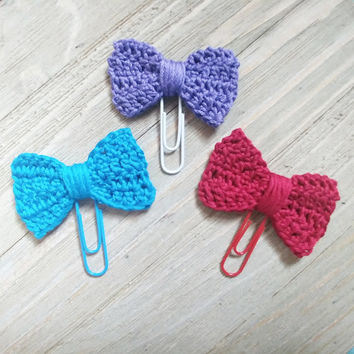Crochet Bow Page Clips for Planners & Bookmarks