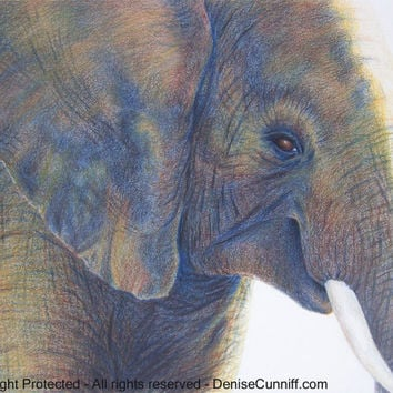 Elephant painting, elephant art,watercolor,yellow grey decor, brown blue boys room,wall art,elephant nursery,African,original painting 10x14