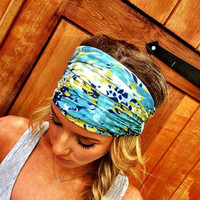 Floral Stretch Turban Headband Green MultiColor by ThreeBirdNest