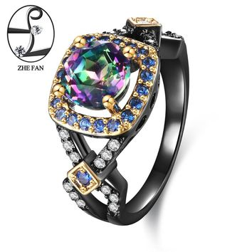 ZHE FAN Synthetic Rainbow Quartz Rings Women Vintage Black Gold Color Plating Blue White Micro Zirconia Jewelry Christmas Gifts