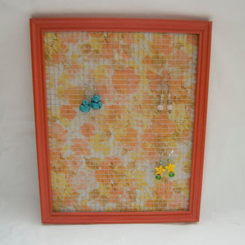 Upcycled Plastic Orange Picture Frame Turned into an Earring Holder Floral Chic