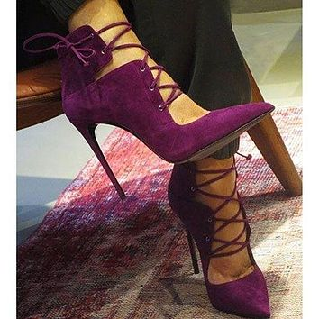 Lace UP Pointed Toe Super High Stiletto Highs