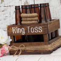 Ring Toss Game Rustic Wedding Decor Outdoor Party Game Wedding Games Yard Games Family Party Games Beer Bottle Ring Toss Game Wood Crate