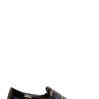 Jimmy Choo Blue And Grey Snakeskin Grove Slip-on Sneakers