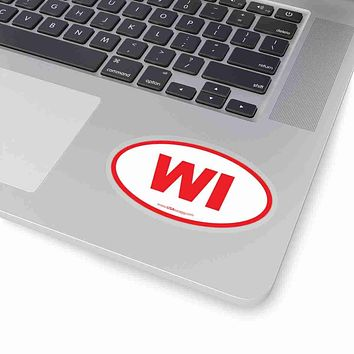 Wisconsin WI Euro Oval Sticker RED
