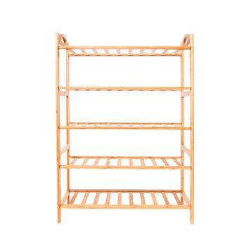 5-layer Portable Bamboo Splint Shoe Rack Wood Color
