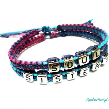 Soul Sisters Hemp Bracelet Set, Purple Haze Adjustable Macrame Jewelry, Friendship, Best Friends