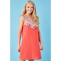 With Whimsy Coral Orange Embroidered Dress
