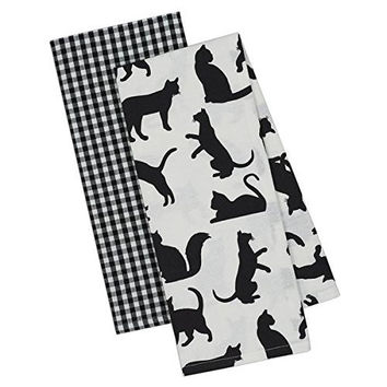 Cat Silhouettes and Gingham Dish Towels (Set of 2)