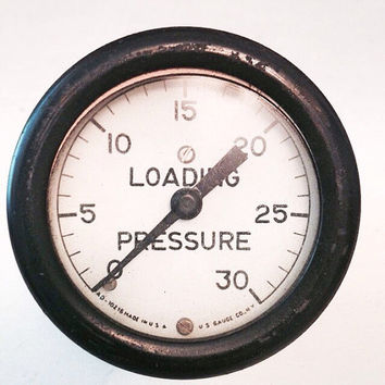 Loading Pressure Gauge by U.S. Gauge Co N.Y. / Pressure Valve / Vintage Gauge / Industrial, Mixed Media