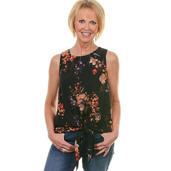 Black Floral Sleeveless Knot Top