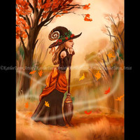 Witch Digital Painting, Autumn Witch, Fall Art, Halloween Art, Witch Painting, Halloween Painting, Witch Print, Wall Art, Wall Decor